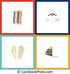 plano, conjunto, elements., limpiaparabrisas, surf,...