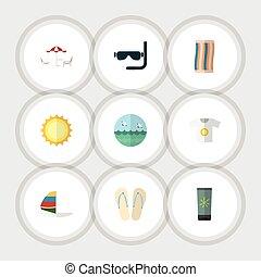 plano, conjunto, elements., nadador, surf, playa, recliner,...