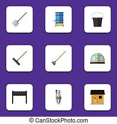 plano, conjunto, elements., stabling, dacha, herramienta, ...