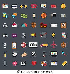 plano, conjunto, empresa / negocio, icono