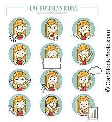 plano, conjunto, empresa / negocio, icons.