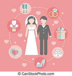 plano, conjunto, empresa / negocio, template.vector, iconos, boda, o, groom.wedding, infographic, diseño, plan, conceptos, informe, estadística, caricatura, costa, día, novia