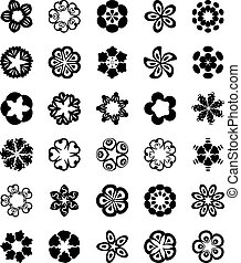 plano, conjunto, flower.vector, icono