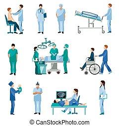 plano, conjunto, gente, iconos médicos, profesional