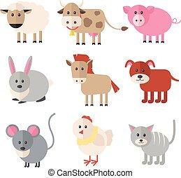 plano, Conjunto, granja, animales,  vector, icono