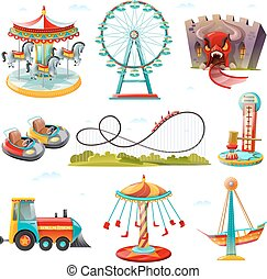 plano, conjunto, iconos, atracciones, parque, diversión