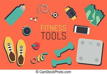 plano, conjunto, iconos, bolsa gimnasio, elementos, condición física, herramientas