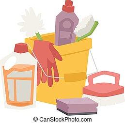 plano, conjunto, iconos, casa, higiene, vector, productos, ...