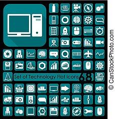 plano, conjunto, iconos de tecnología