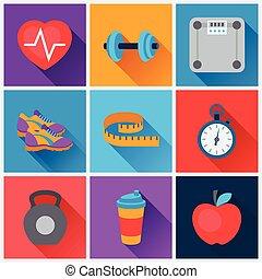 plano, conjunto, iconos, deportes, condición física, style.