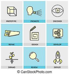 plano, conjunto, iconos, idea, vector, diseño, prototipo, ...