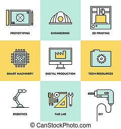 plano, conjunto, iconos, ingeniería, producción, digital