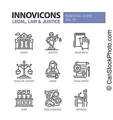 plano, conjunto, iconos, justicia, -, diseño, ley