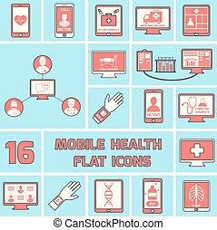 plano, conjunto, iconos, móvil, salud, línea