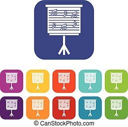 plano, conjunto, iconos, notas, whiteboard, música