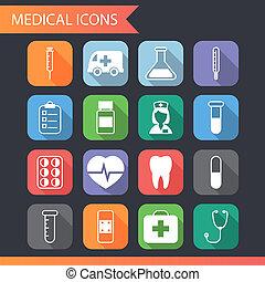 plano, conjunto, iconos, símbolos médicos, vector, retro