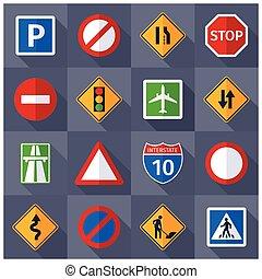 plano, conjunto, iconos, señales de tráfico, camino