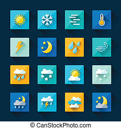 plano, conjunto, iconos, tiempo, diseño, style.