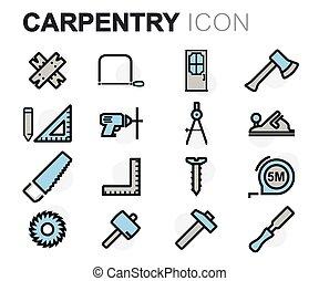 plano, conjunto, iconos, vector, línea, carpintería