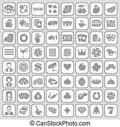 plano, conjunto, icons., casino