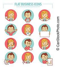 plano, conjunto, icons., empresarios