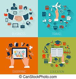 plano, conjunto, illustration., viaje, fondos, empresa / ...