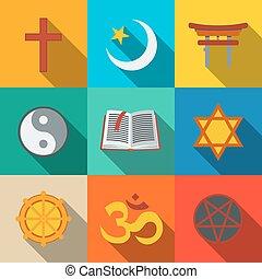 plano, conjunto, islam, cristiano, símbolo, budismo, -, ...