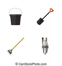 plano, conjunto, jardinería, elements., cubo, dacha, ...
