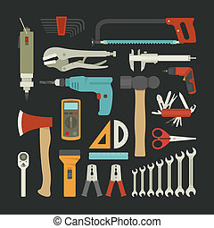 plano, conjunto, mano, diseño, herramientas, icono