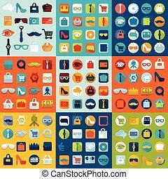 plano, conjunto, moda, iconos