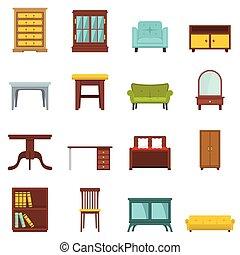 plano, conjunto, oficina, casa, caricatura, muebles