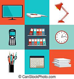 plano, conjunto, oficina, cosas, equipo, vector, objects.