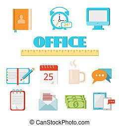 plano, conjunto, oficina, icono