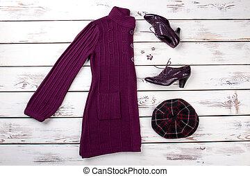 plano, conjunto, púrpura, colocar, hembra, clothing.