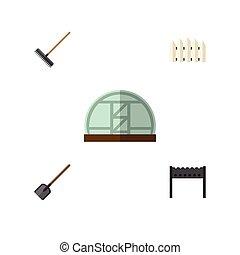 plano, conjunto, rastrillo, elements., barrera, dacha, ...