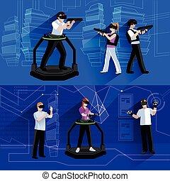plano, conjunto, realidad virtual, banderas, augmented