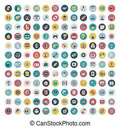 plano, conjunto, red, medios, icons., vector, social, icono