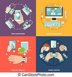 plano, conjunto, salud, digital, iconos