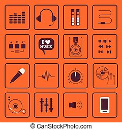 plano, conjunto, sonido, iconos, música, dj