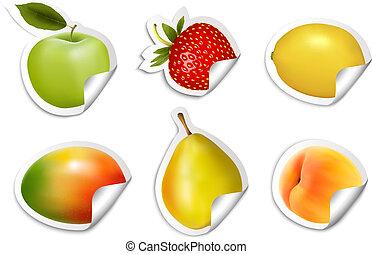 plano, conjunto, stickers., vector., fruta