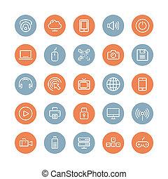 plano, conjunto, tecnología, multimedia, iconos