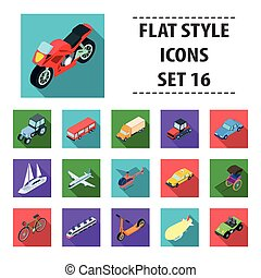 plano, conjunto, transporte, iconos, grande, símbolo, colección, vector, ilustración, style., acción