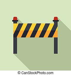 plano, construcción de carreteras, barrera, estilo, icono
