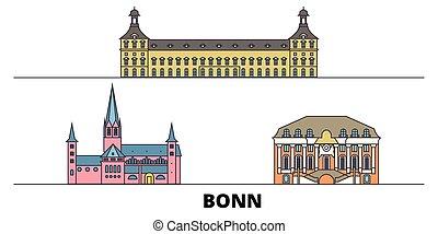 plano, contorno, illustration., ciudad, señales, famoso, ...