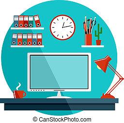 plano, cosas, oficina, equipment., ilustración, vector