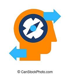 plano, creativo, icono, descubrimiento, solución, aislado,...