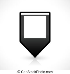 plano, cuadrado, alfiler, mapa, señal, negro, ubicación, icono