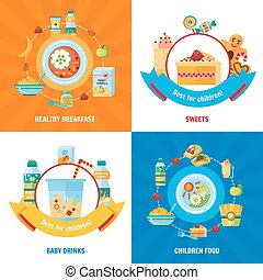 plano, cuadrado, iconos, alimento, 4, bebé