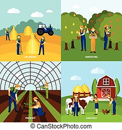 plano, cuadrado, iconos, cartel, 4, agricultura