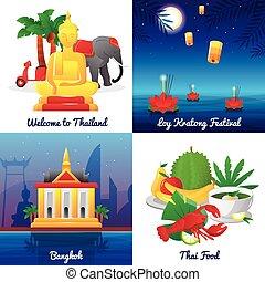 plano, cuadrado, iconos, cultura, 4, tailandia